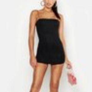 Square Neck Hem Detail Bodycon Dress - Black